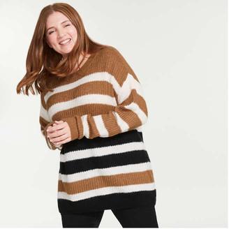 Joe Fresh Women+ Stripe Sweater, Fuchsia (Size 2X)