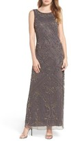 Pisarro Nights Women's Embroidered Mesh Gown