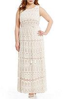 Jessica Howard Plus Lace Blouson Maxi Dress