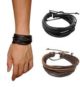 Lisli 4 Pcs Fashion Women/Men Surfer Tribal Wrap Multilayer Leather Cuff Bracelet Hand Wear Accessory