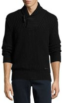 Burberry Douglas Toggle Pullover Sweater, Black