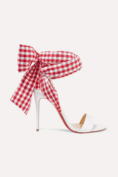 Christian Louboutin Sandale Du Desert 100 Leather And Gingham Canvas Sandals - White
