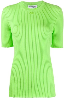 Courreges Ribbed Short-Sleeved Knitted Top