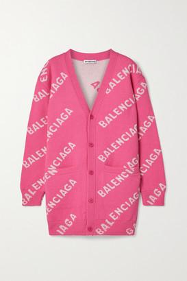 Balenciaga Intarsia Wool-blend Cardigan - Pink