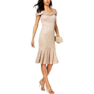 R & M Richards R&M Richards Women's one Piece midi Off The Shoulder Laced Dress Champagne 12