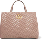 Gucci Gg Marmont Quilted Leather Tote - Taupe