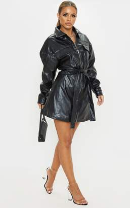 PrettyLittleThing Petite Black Belted PU Jacket Dress