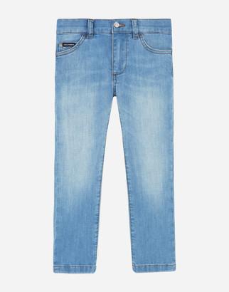 Dolce & Gabbana Stretch Slim Fit Baby Blue Jeans