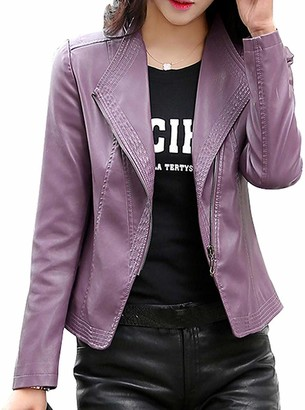 Lazutom Women's Casual PU Leather Zip Up Moto Biker Jacket (UK 14