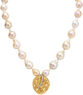 Michael Aram Botanical Leaf 18K 7.24 Ct. Tw. Yellow Sapphire & 13-14Mm Pearl Necklace