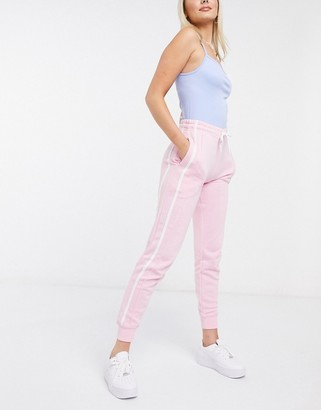 New Look side stripe jogger in pale pink