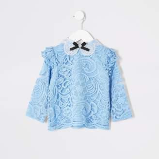 River Island Mini girls Blue lace bow collar top