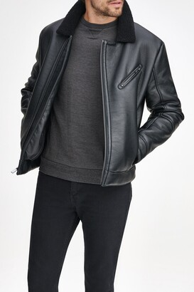 Andrew Marc Maxton Faux Leather & Faux Shearling Collar Moto Jacket