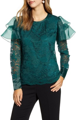 Rachel Parcell Lace Flutter Sleeve Top