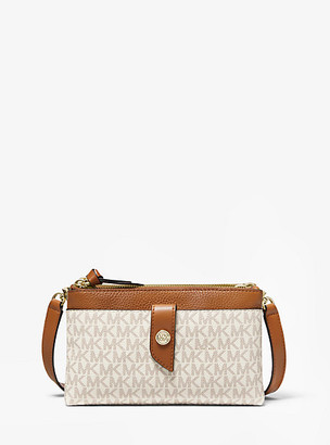 MICHAEL Michael Kors MK Medium Logo Double-Zip Crossbody Bag - Vanilla/acorn - Michael Kors