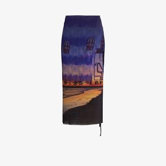 Louisa Ballou High Waist Printed Midi Skirt
