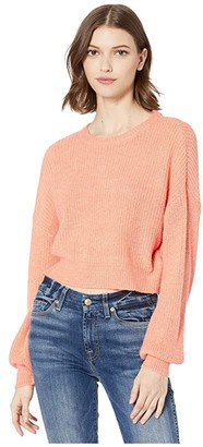 Cupcakes And Cashmere Rhonda Cropped Fuzzy Pullover (Orange Sherbert) Women's Clothing