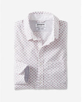 Express long sleeve white micro print shirt