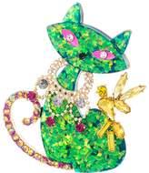 Betsey Johnson Green Cat Pin Pendants Pins