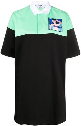 MSGM Bi-Colour Embroidered-Patch Polo Shirt