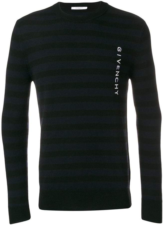 Givenchy logo embroidered striped sweater
