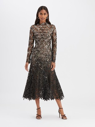 Oscar de la Renta Metallic Cocktail Dress