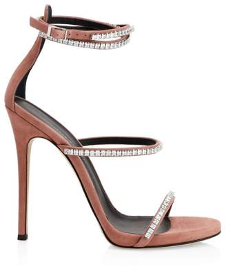 Giuseppe Zanotti Crystal Ankle-Strap Suede Sandals