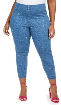 Hue Plus Size High-Rise Ditsy Floral-Print Denim Skimmer Leggings