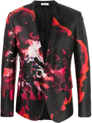 Alexander McQueen Floral-Print Blazer Jacket
