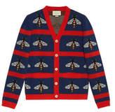 Gucci Bee jacquard wool cardigan