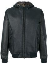 Etro hooded leather jacket - men - Cotton/Lamb Skin - S