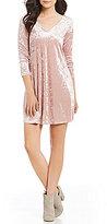 I.N. San Francisco Lace-Up Back Velvet Swing Dress