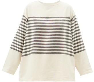Marrakshi Life - Breton-stripe Long-sleeve Cotton-blend T-shirt - Ivory Multi