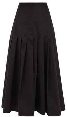 Three Graces London Elisha Pleated Cotton-poplin Skirt - Black