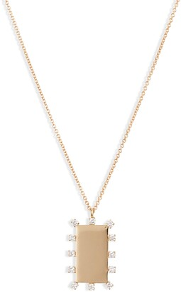 Bony Levy Kiera Scattered Diamond Dog Tag Pendant Necklace