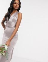 TFNC Bridesmaid multi way maxi dress in grey