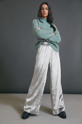 Maeve Anastacia Velvet Wide-Leg Pants By in Silver Size XS