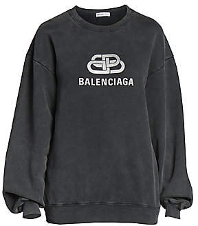 Balenciaga Women's Metallic Logo Crewneck Sweater