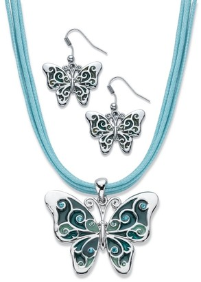 PalmBeach Jewelry Silvertone Enamel and Aquamarine Crystal Earring and Necklace Set