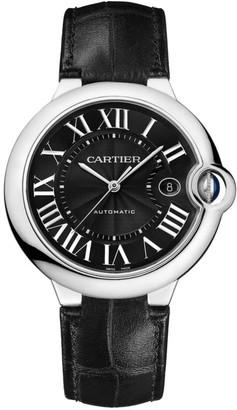 Cartier Ballon Bleu de Stainless Steel & Black Alligator-Strap Watch with Black Dial