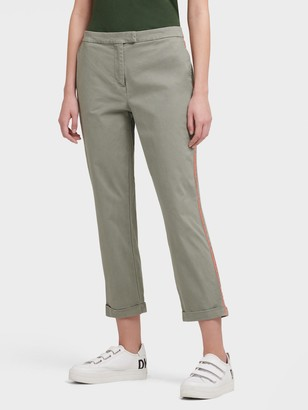 DKNY Women's Slim Pant With Contrast Side Stripe - Sage/Neon Orange - Size 00
