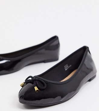 Simply Be wide fit ballet flats in black patent