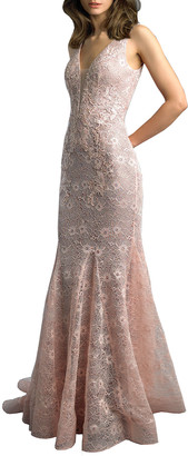 Basix II Floral Lace Godet Mermaid Gown