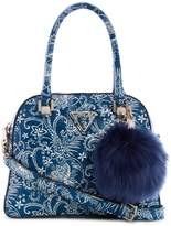 GUESS Astrid Small Quilted Faux Fur Charm Dome Satchel