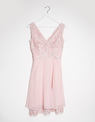 Chi Chi London Chi Chi Bridesmaid Lauria midi dress with lace detail in mink