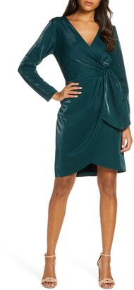 Julia Jordan Liquid Jersey Long Sleeve Faux Wrap Dress