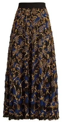 Altuzarra Villotta Sequin-embellished Silk Skirt - Navy Multi