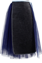 Anouki Denim And Tulle Midi Skirt
