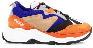 MSGM Attack Mixed-Media Suede & Leather Sneakers
