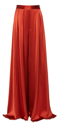 Brandon Maxwell Pleated Silk-Satin Wide-Leg Pants